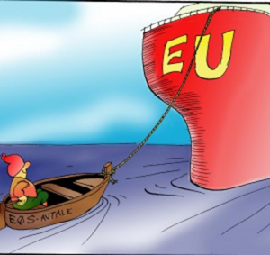 "The EU ship is towing the little fishing boat named the ""EEA Agreement""."