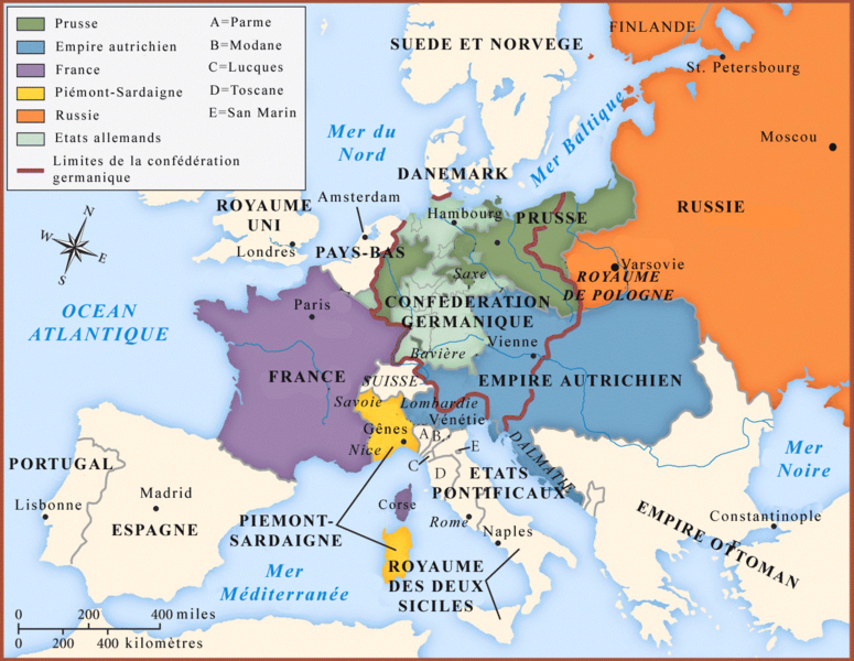 Europe, post-Congrès de Vienne de 1815