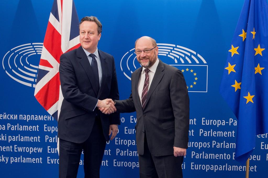 Martin Schulz, Président du Parlement européen et David Cameron, 16 février 2016