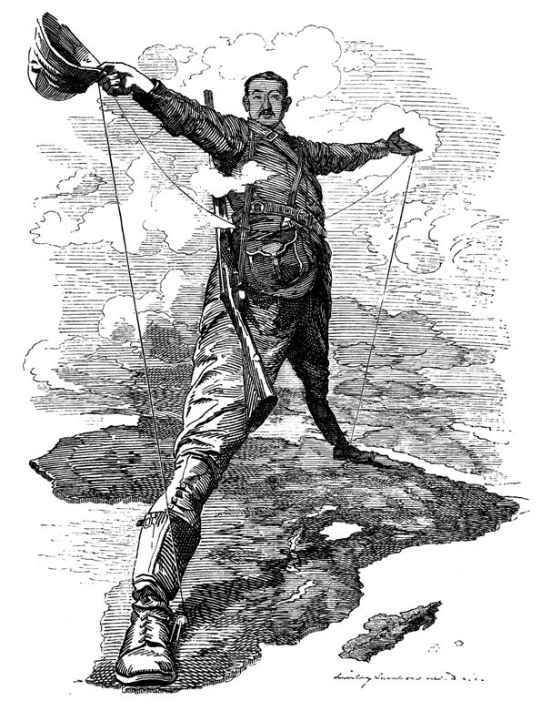 The Rhodes Colossus Striding from Cape Town to Cairo Caricature du célèbre colonisateur britannique Cecil Rhodes publié par le magazine Punch magazine le 10 décembre 1892