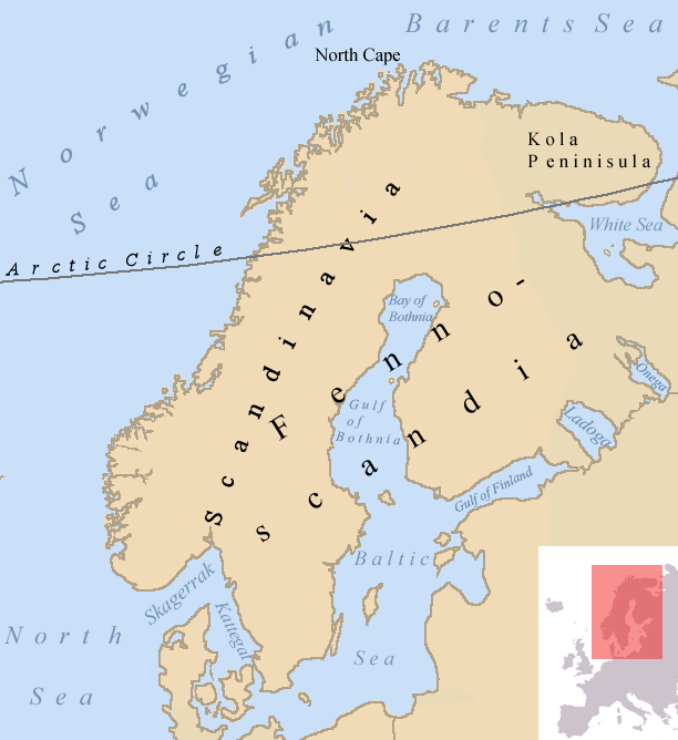 Map describing the Fennoscandian, Scandinavian and the Kola Peninsulas.